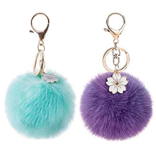 2Pcs Pom Pom Keychain Fluffy Cute Flower Keychain Puff Ball Keychain for Women Bag Purse Car Key Rings (Flower Teal Lavender)