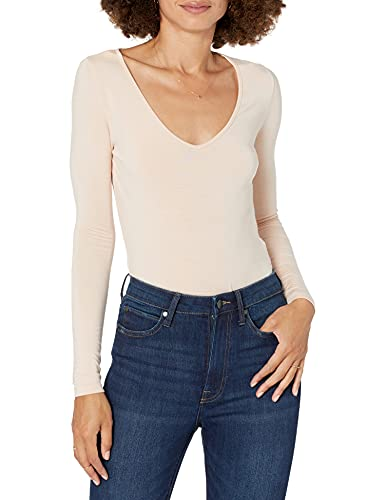 The Drop Women's Patricia Long-Sleeve Deep V-Neck Fitted Bodysuit