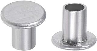 uxcell 200 Pcs 3mm x 4mm Aluminum Flat Head Semi-Tubular Rivets Silver Tone