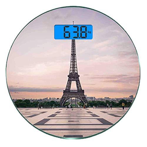 Digitale Präzisionswaage für das Körpergewicht Runde Paris-Stadt-Dekor Ultra dünne ausgeglichenes Glas-Badezimmerwaage-genaue Gewichts-Maße,Trocadero und Eiffelturm an der Sonnenschein-Paris-Skyline-h