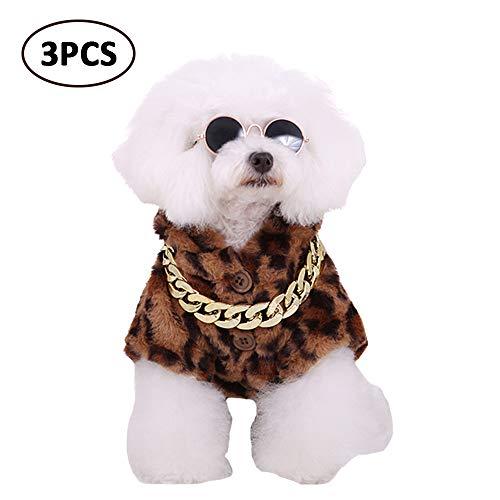 FLAdorepet Cool HipHop Rapper Hond Kostuum met Huisdier Ketting en Zonnebril Dikke Fleece Hond Jas met Hood Punk Kleding voor Kleine Hond, M, BRON