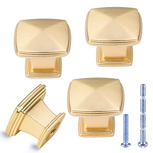 """Cobella Gold Kitchen Cabinet Knobs Square Drawer Knobs 1.18"""" Single Hole Brushed Brass Drawer Pulls Zinc Alloy Cabinet Handles for Kitchen Cupboard Wardrobe, Pack of 4 Florida"""