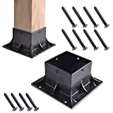 kjxxkj 4x4 (Actual 3.5x3.5) Inch Heavy Duty Stainless Steel Wood Post Base Cover Skirt Flange with Screws for Deck Porch Handrail Railing Support Trim Anchor (2-Pack, Black Finished)