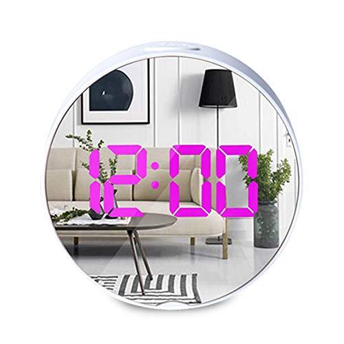 EDDORUNNING Digitale led-wekker met slaapfunctie/helderheid instelbaar/12/24 uur, werkt op USB en batterijen, voor slaapkamer, kantoor, wit