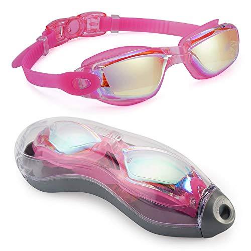 Kaimeilai Occhiali da nuoto per bambini, unisex, per il tempo libero, con cinghia regolabile, comfort professionale, senza perdite, protezione UV, anti appannamento, lenti dure (rosa)