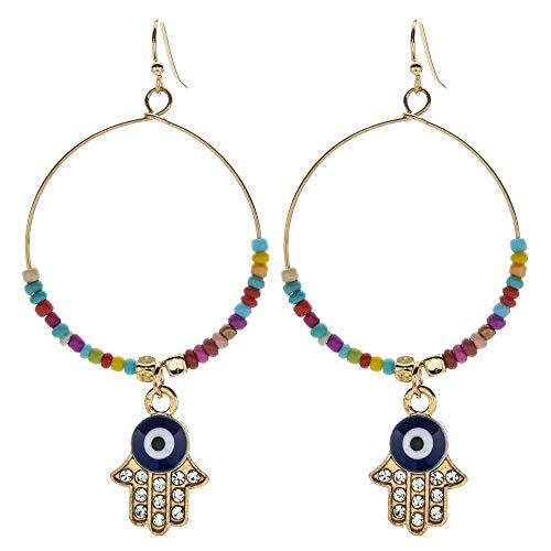 Fashion Evil Eyes Alloy Vintage Gold Big Circle cuelga pendientes Fátima manos mujeres cristal drop pendiente joyería regalo