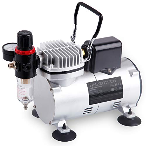 TIMBERTECH Upgraded Airbrush Compressor with Motor Cool Dawn Fan ABPST07, Powerful 1/6hp Portable Quiet Airbrush Compressor for Airbrush Paint, Nails, Tattoo, Cake Painting