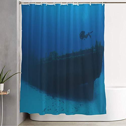 Bathroom Fabric Shower Curtain with Hooks Blue Anchor Scuba Diving Malta Cirkewwa 29 Stern Sports Recreation Active Archeology Dig Beneath Bathroom Accessories Waterproof 60 x 72 Inch