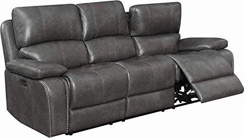 Unik Always Charcoal Grey Leatherette Reclining Sofa Couch Living Room Furniture