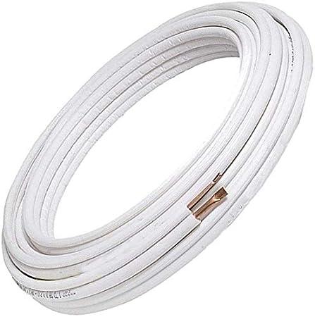 Bianco 9+9 Tubos de cobre acondicionador par 1//4 3//8 apto para gas R410A R407C R22 9 Metri
