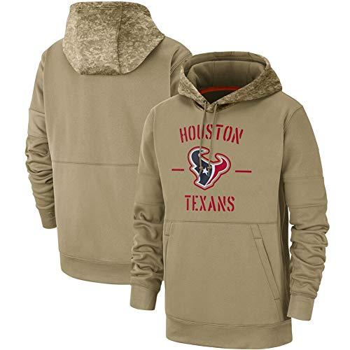 NIDAYE Männer Rugby Jersey Hoodiepullover Texans, American Football Jersey Hoodie Pop Gelegenheits Hoodie Khaki-M