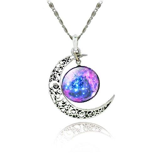 Jiayiqi, collana con ciondolo che esalta fascino e personalità, ciondolo con luna color argento e vetro colorato, base metal, colore: IB841, cod. IB841