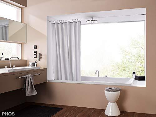 PHOS Edelstahl Design, SSA18Set5-B, Seilspanngarnitur für Duschnischen von Wand zu Wand, 5 Meter Spannweite, einkürzbar. Seilspannsystem, Duschvorhangseil, Vorhangdraht, Stahlseil Drahtseil Vorhang