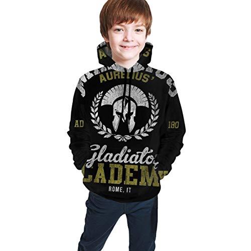 Maximus Aurelius Gladiator Academy Print Pullover Hoodies Suéteres con Capucha Sudaderas para niños Adolescentes Niños Niñas