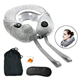 Sunlite Travel Neck Massage Pillow Inflatable, Cordless and Rechargeable U-Shaped Massager, 3D Shiatsu Deep Kneading, for Neck Pain Relief,with Bag, Eye Mask, Ear Plug