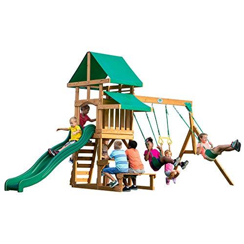 Backyard Discovery Spielturm Belmont aus Holz | XXL Spielhaus für Kinder mit Rutsche, Schaukel, Trapezstange, Sandkasten und Picknicktisch | Stelzenhaus für den Garten