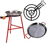 Garcima Ibiza Paella Pan Set with Burner, 28 Inch Carbon Steel Outdoor Pan and Reinforced Legs Imported from Spain (24 Servings)