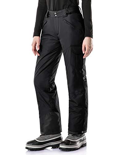TSLA Women's Winter Snow Pants, Waterproof Insulated Ski Pants, Ripstop Snowboard Bottoms, Snow Core Cargo Pants Dark Black, Medium