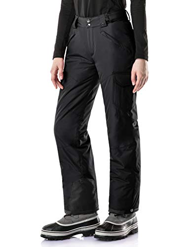 TSLA Women's Winter Snow Pants, Waterproof Insulated Ski Pants, Ripstop Snowboard Bottoms, Snow Cargo(xkb92) - Black, X-Small