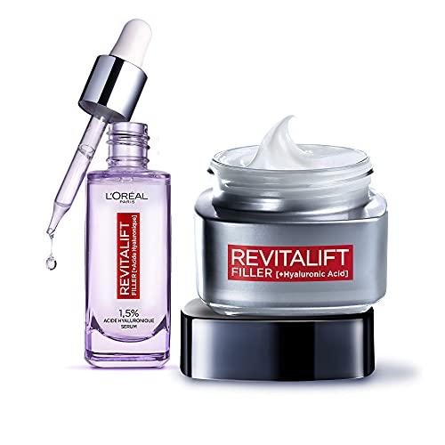 L Oréal Paris - Coffret Revitalift Filler - Routine Anti-Âge Enrichie à l'Acide Hyaluronique - Sérum Repulpant + Soin Jour Volumisant