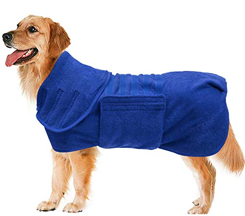 Geyecete Dog Drying Coat -Dry Fast Dog Bag - Dog Bathrobe Towel - Microfibre Fast Drying Super Absorbent Pet Dog Cat Bath Robe Towel,Luxuriously Soft-Blue-M