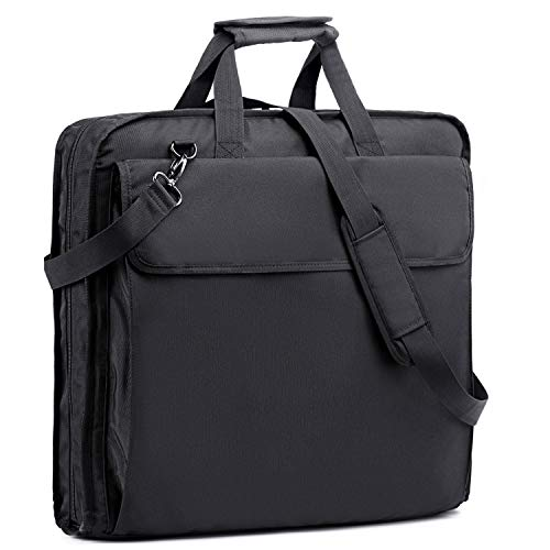 BERTASCHE Garment Bag for Travel, Waterproof Foldable Luggage Hanging Suit Bag with Shoulder Strap for Shirts Dresses Coats in Black