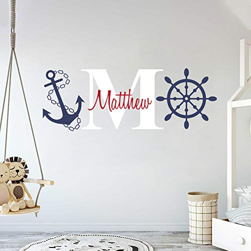 Custom Name & Initial Rudder & Anchor - Nautical Theme - Baby Boy - Wall Decal Nursery for Home Bedroom Children (AM) (Wide 40 x 15 Height)