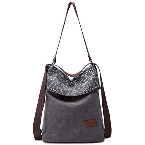 Travistar Canvas Shoulder Bag Handbag Womens Ladies,Vintage Backpack Tote Shopping Top Handle Bags for Work School Travel Casual Daily (Printed Gray)