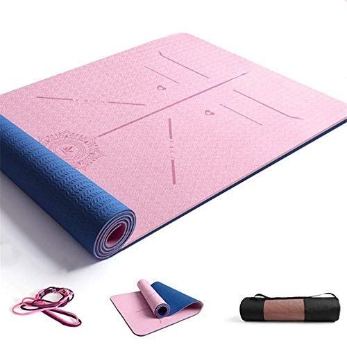 ZBK Esterilla de yoga de 8 mm de grosor, dos colores de TPE para guía corporal, línea de postura, esterilla de yoga, tapete de fitness ampliado y grueso,183 x 68 x 0,8 cm