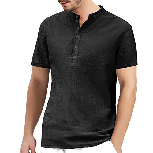 PLOK Camisa de manga corta para hombre, estilo informal, ajustada, de lino Negro XXL