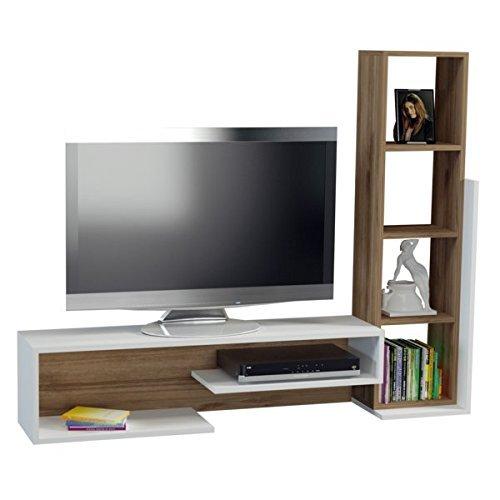 Alphamoebel TV Board Lowboard Fernsehtisch Fernsehschrank Sideboard, Fernseh Schrank Tisch für Wohnzimmer I Weiß Walnuss I Bella 2008 I 151,8 x 29,5 x 125,4 cm