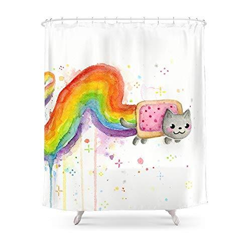 YEDL Regenbogen Katze Meme Geek skurrile Tiermalerei Duschvorhang 180 × 180 cm