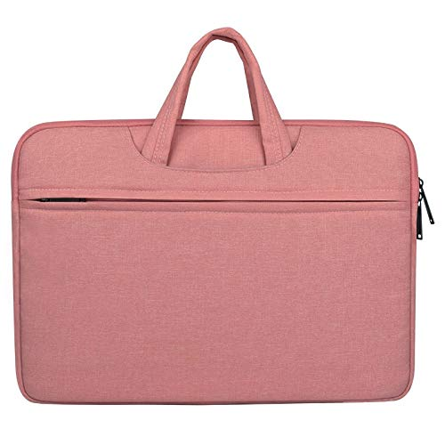 MFENG STORE Breathable Wear-resistant Shoulder Handheld Zipper Laptop Bag, For 14 inch and Below Macbook, Samsung, Lenovo, Sony, DELL Alienware, CHUWI, ASUS, HP (Black) (Color : Pink)