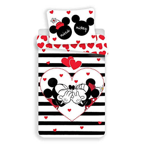 Disney Mickey & Minnie Mouse Heart & Stripes - Juego de cama (140 x 200 cm, funda de almohada 70 x 90 cm, 100% algodón), color negro y blanco