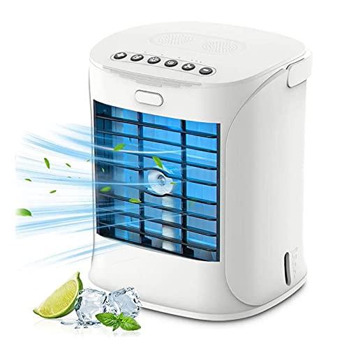 HFFSGS Refrigerador de aire portátil, 4 en 1 Aire acondicionado móvil, refrigerador de aire y humidificador y purificador, refrigerador evaporativo con tanque de agua, velocidades y luz de humor color