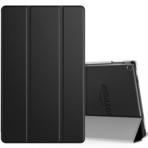 MoKo Hülle für Das Neue Amazon Fire HD 10 Tablet (9. Gen 2019 und 7. Gen 2017 Model), Ultra Slim Schutzhülle Smart Cover Case Auto Wake/Sleep Transluzent Rückseit für Fire HD 10.1