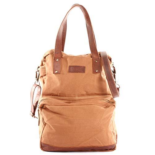 LECONI Rucksack & Umhängetasche in einem für Damen & Herren Retro Backpack Canvas + echtes Leder Bodybag DIN A4 Schultertasche 2in1 Freizeitrucksack 28x37x13cm LE1014-C, Cognac / Braun, L
