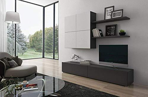 Slesia Parete Attrezzata Soggiorno Mobile TV con Vani E Mensole Legno Base Televisione Salotto Sala da Pranzo Design Moderno 200 x 194 x 40 cm Colore Bianco e Marrone