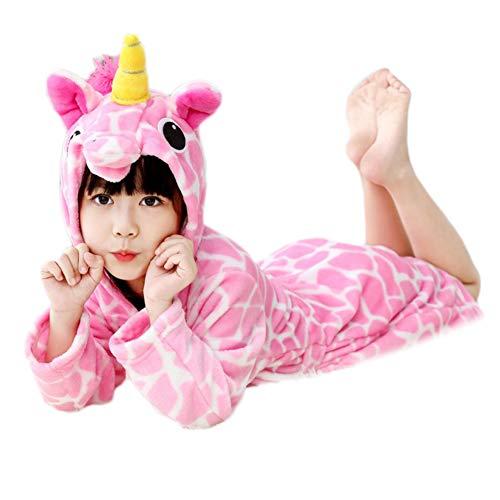 Emorias 1 Pcs Albornoz de Baño Niño Unicornio Suave Pijama Dibujos Animados Unisex Bata de Dormir Ropa Hogar - Rosa XS