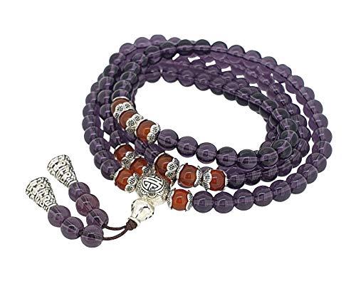 TreasureBay Stunning Beaded Mala Prayer Bracelet for Women (Purple)