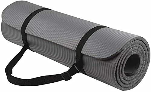 FiduSport Yogamatte Gymnastikmatte Phthalatfreie rutschfest und gelenkschonend Sportmatte für Yoga Pilates Sport Matte mit praktischem Tragegurt Pilatesmatte 183 * 61 * 1 cm (Schwarz)