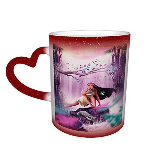 N\A Pocahonta-s Taza de café Que Cambia de Color Taza Sensible al Calor Que Cambia en el Cielo Taza de té de cerámica Que Cambia de Color, 12 onzas Rojo