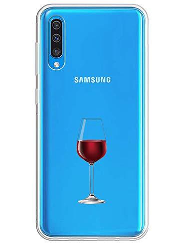 Caler Carcasa compatible con Samsung Galaxy A70 Funda transparente con dibujos TPU suave Bumper protector Case con motivo bonito en TPU silicona antigolpes 3D Vogue Ultra Chic