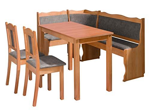 Eckbankgruppe Miki III, Küchensitzgruppe aus Erlenholz, Eckbank Gruppe besteht aus Kücheneckbank mit 2 praktische Kästen, 2X Stuhl, Tisch Esszimmer Sitzbank (Holzfarbe: Erle, Stofffarbe: Forever 65)