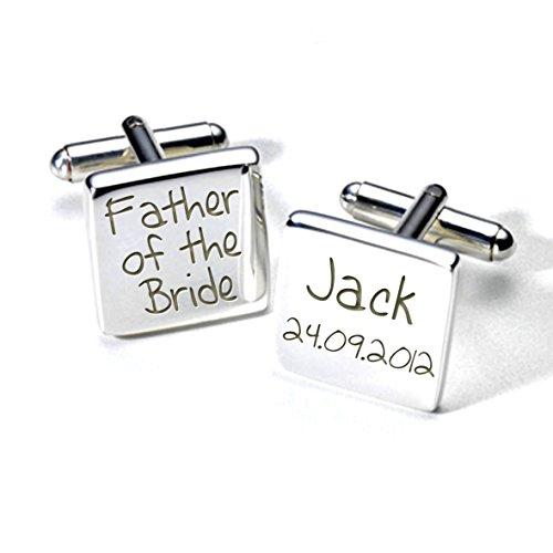 Gravure-père de la mariée Boutons de manchette personnalisés-Code: A2WED009–argent-Carré-Cadeau de remerciement de mariage