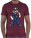 Hariz – Camiseta de policía para hombre, divertida, incluye tarjeta de regalo, Rojo vino., XXXL