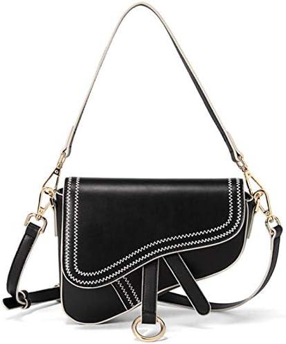 Women s Vintage Stitching Mini Saddle Bag Crossbody Shoulder Strap Small Purse Black product image