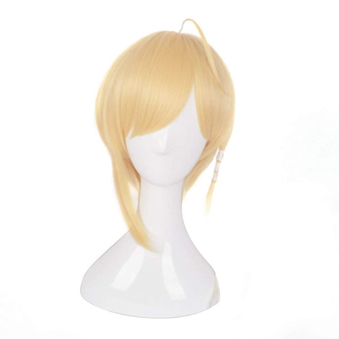 考えたプラスチックワゴンJIANFU コスプレウィッグゴールデンベルコスプレウィッグゴールデンホーンロング&ショートヘア中国のCOSウィッグズフォードリームス (Color : 金色)