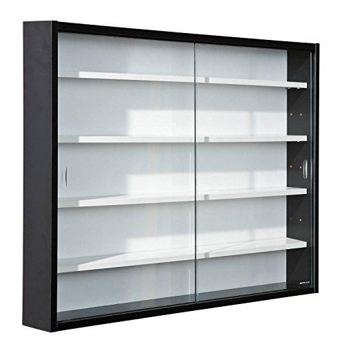 Inter Link Vitrina de coleccionista, vitrina de cristal, vitrina de pared, estante colgante, tablero de fibra de densidad media MDF, blanco y negro