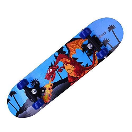 Potato smile Vierrädrigen Doppel-Klettern Kinder Skateboard, Complete Skateboard PU verschleißfeste Anti-Rutsch-Rad, 60 * 15 * 10cm Größe, Feuer-Skateboard mit Dinosaurier-Muster